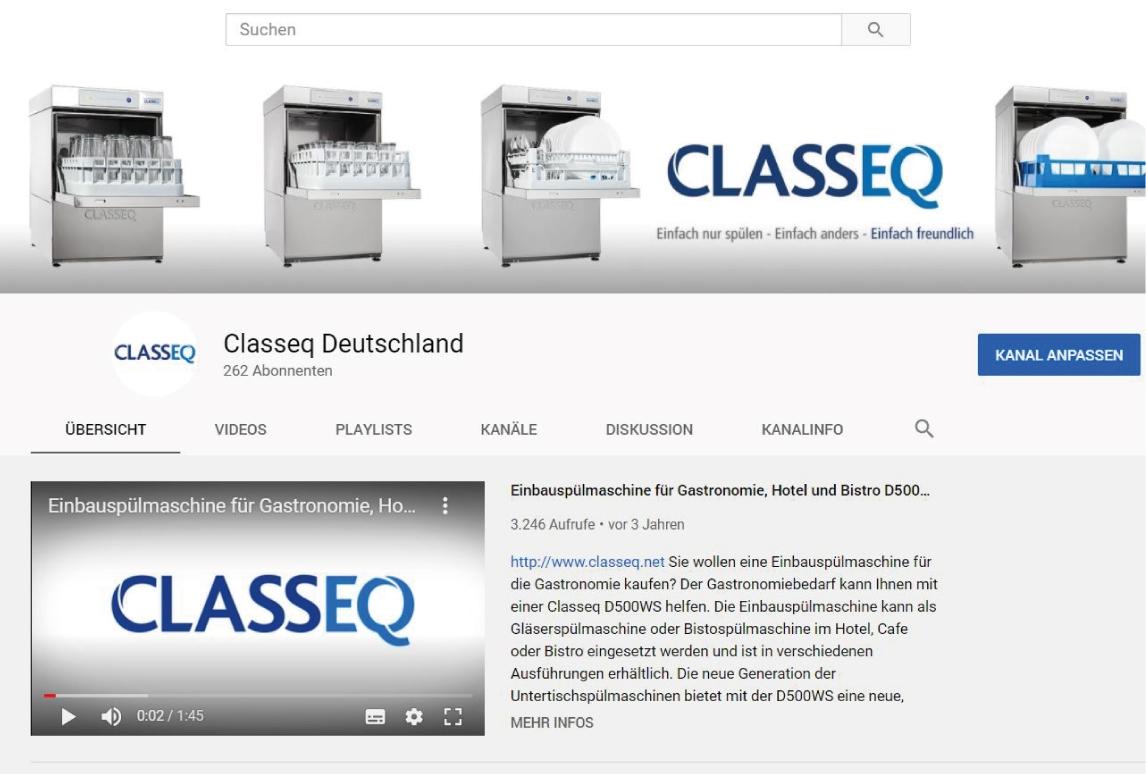 CLASSEQ Spülchemie auf Youtube bearbeitet